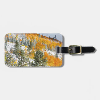 Colorado Rocky Mountain Snowy Autumn Colors Tag For Bags
