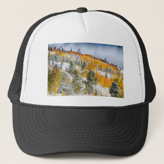 Colorado Rocky Mountain Snowy Autumn Colors Trucker Hat