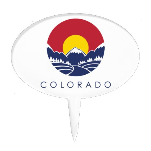 Colorado Rocky Mountain State Flag Cake Topper
