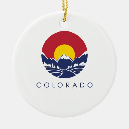 Colorado Rocky Mountain State Flag Double-Sided Ceramic Round Christmas Ornament