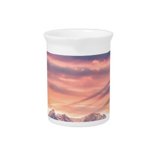 Colorado Rocky Mountain Sunset Waves Of Light Pt 2 Beverage Pitcher