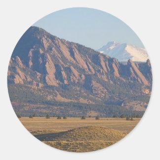 Colorado Rocky Mountains Flatirons With Snow Cove Classic Round Sticker