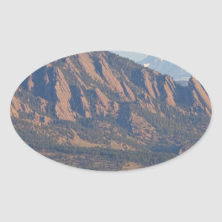 Colorado Rocky Mountains Flatirons With Snow Cove Oval Sticker