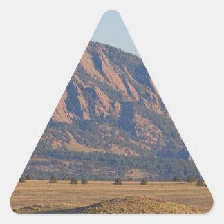 Colorado Rocky Mountains Flatirons With Snow Cove Triangle Sticker