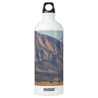 Colorado Rocky Mountains Flatirons With Snow Cove Water Bottle