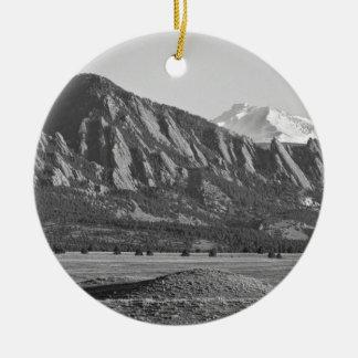 Colorado Rocky Mountains Flatirons with Snow Cover Ceramic Ornament