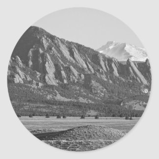 Colorado Rocky Mountains Flatirons with Snow Cover Classic Round Sticker