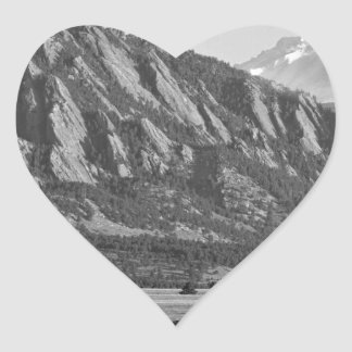 Colorado Rocky Mountains Flatirons with Snow Cover Heart Sticker