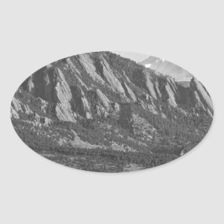 Colorado Rocky Mountains Flatirons with Snow Cover Oval Sticker