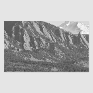 Colorado Rocky Mountains Flatirons with Snow Cover Rectangular Sticker