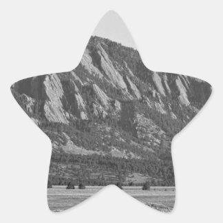 Colorado Rocky Mountains Flatirons with Snow Cover Star Sticker