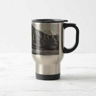 Colorado Rocky Mountains Flatirons with Snow Cover Travel Mug