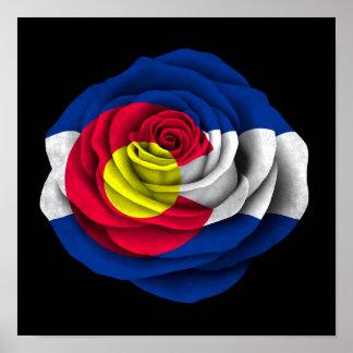 Colorado Rose Flag on Black Poster