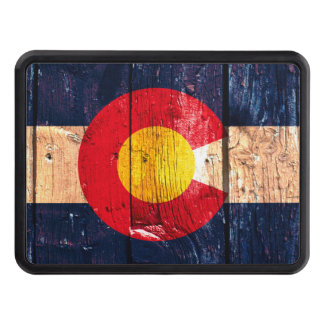 Colorado rustic wood flag trailer hitch cover