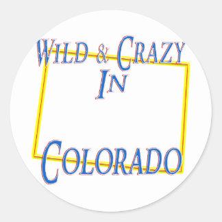 Colorado - salvaje y loco pegatinas redondas