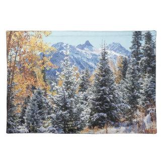 Colorado, San Juan Mountains, First snow Cloth Placemat