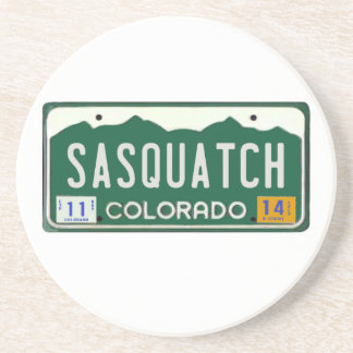 Colorado Sasquatch License Plate Beverage Coasters