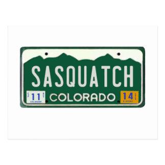 Colorado Sasquatch License Plate Post Cards