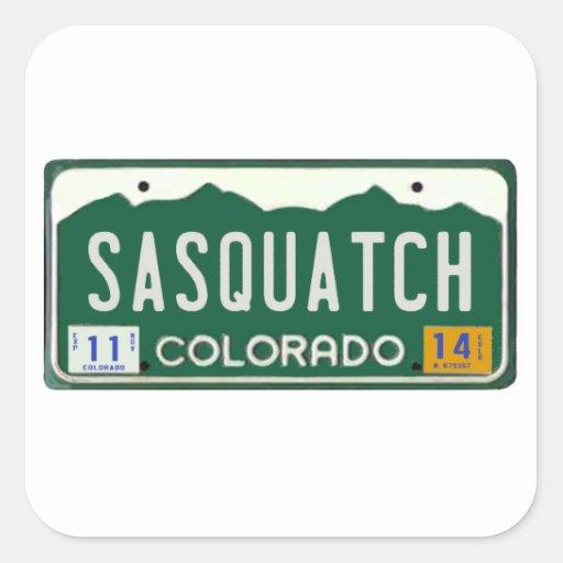 Colorado Sasquatch License Plate Square Sticker