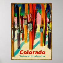 Colorado ski on snow, vintage travel poster