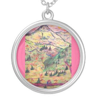 colorado small town round pendant necklace