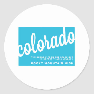 colorado   song lyrics   sky blue classic round sticker