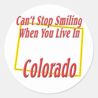 Colorado - sonriendo pegatinas redondas