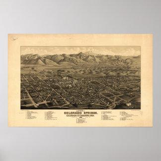 Colorado Springs 1882 Panoramic Map Poster