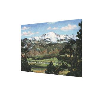 Colorado Springs, CO - pico de los lucios Impresión En Lona