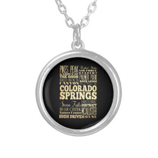 Colorado Springs Colorado City State Typography Pendant