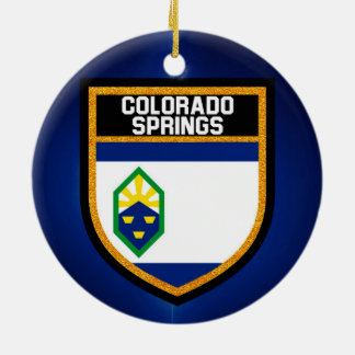 Colorado Springs Flag Ceramic Ornament