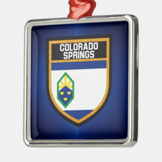 Colorado Springs Flag Metal Ornament