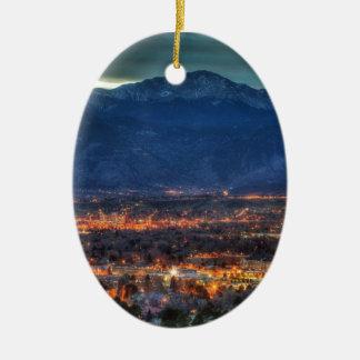 Colorado Springs Lights Ceramic Ornament