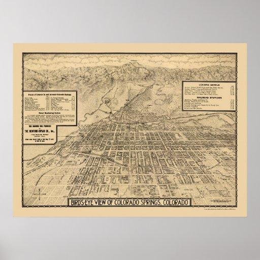 Colorado Springs, mapa panorámico del CO - 1909 Póster