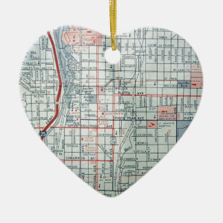 COLORADO SPRINGS Vintage Map Double-Sided Heart Ceramic Christmas Ornament