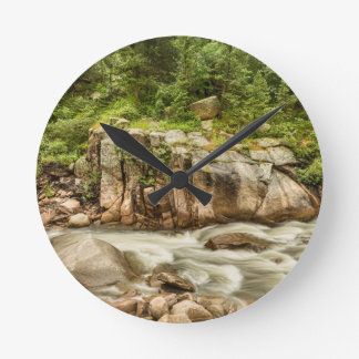 Colorado St Vrain Canyon and Rocky Mountain Stream Round Clock
