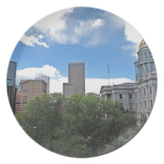 Colorado State Capitol Building with Skyscapers Party Plate