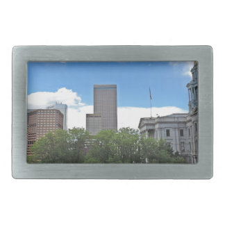 Colorado State Capitol Building with Skyscapers Rectangular Belt Buckle