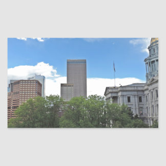 Colorado State Capitol Building with Skyscapers Rectangular Sticker