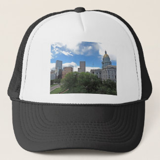 Colorado State Capitol Building with Skyscapers Trucker Hat
