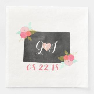 Colorado State Chic Floral Monogram Wedding Paper Dinner Napkin