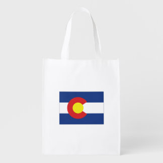 Colorado State Flag and Map Grocery Bag