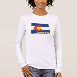 Colorado State Flag and Map Long Sleeve T-Shirt