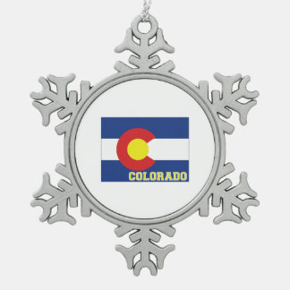 Colorado State Flag and Map Snowflake Pewter Christmas Ornament