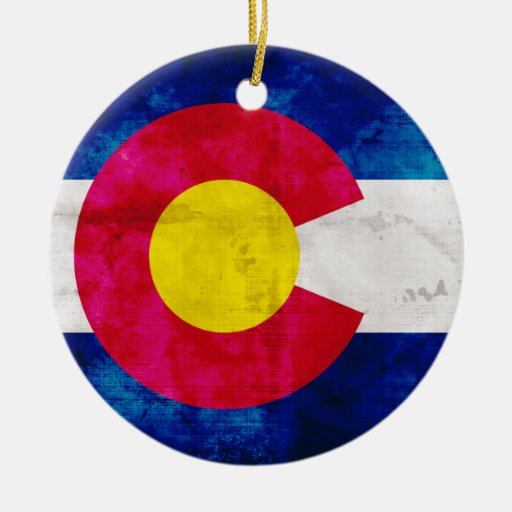 Colorado state flag double sided ceramic round christmas