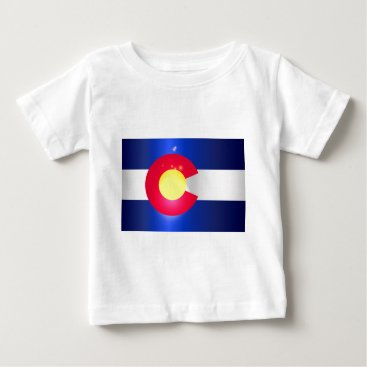USA Themed Colorado State Flag Glow Baby T-Shirt