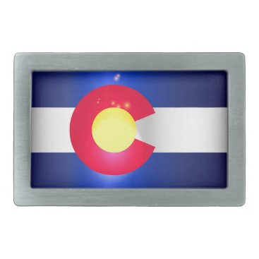 USA Themed Colorado State Flag Glow Belt Buckle