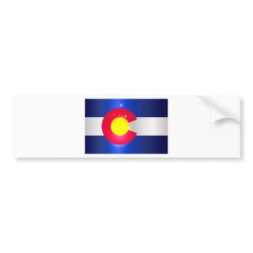 USA Themed Colorado State Flag Glow Bumper Sticker
