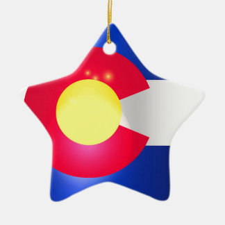 Colorado State Flag Glow Ceramic Ornament