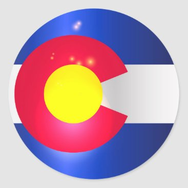 USA Themed Colorado State Flag Glow Classic Round Sticker